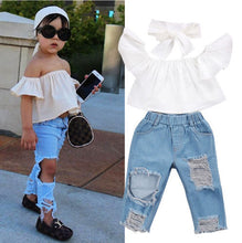 Load image into Gallery viewer, Cold Shoulder Jeans Set - Kids Shoe Shack