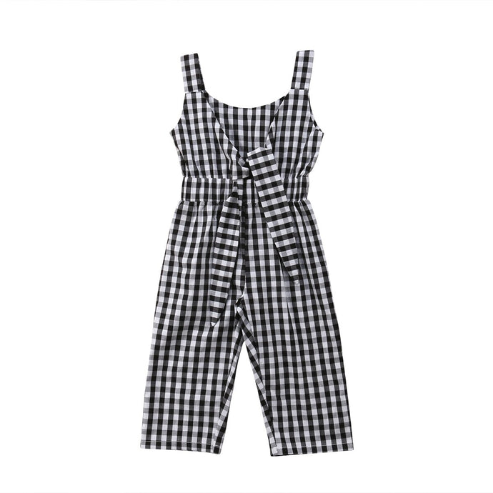 Plaid Sleeveless Jumpsuit - Kids Shoe Shack