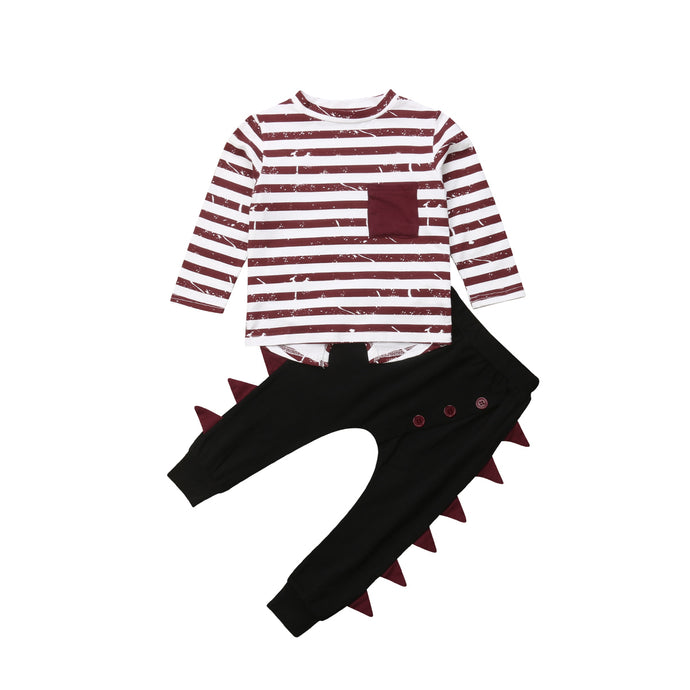 Striped Dinosaur Pants Set - Kids Shoe Shack