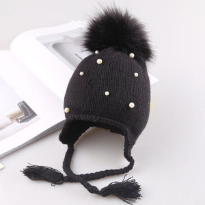 Pearl Studded Knit Hat - Kids Shoe Shack
