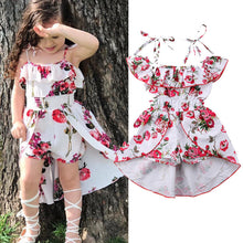 Load image into Gallery viewer, White Floral High-Low Romper - Kids Shoe Shack