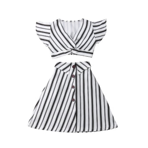 Striped Sleeveless Crop Tops  2PCS - Kids Shoe Shack