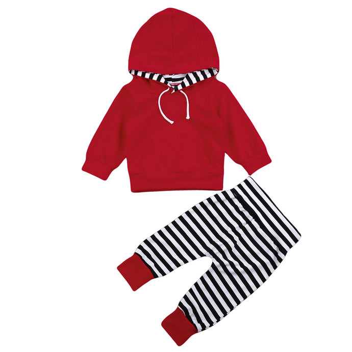 Red Striped Hooded Sweatsuit - Kids Shoe Shack