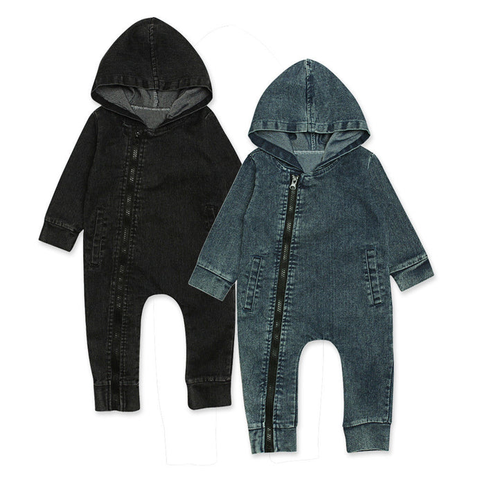 Hooded Denim Jumpsuit - Kids Shoe Shack