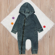Load image into Gallery viewer, Hooded Denim Jumpsuit - Kids Shoe Shack