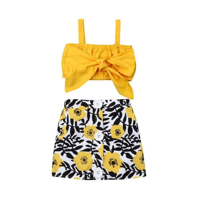 Yellow Floral Skirts Set - Kids Shoe Shack