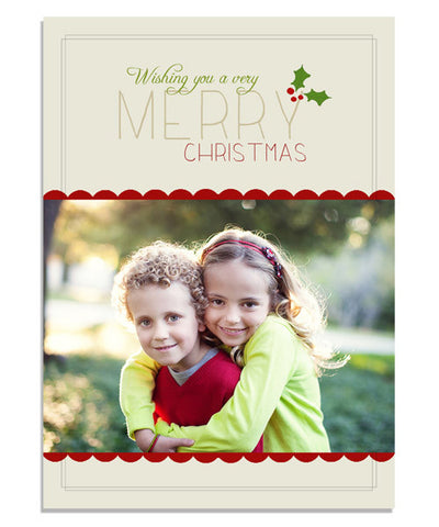 Classic Holly 5x7 Flat Card and Envelope Liner