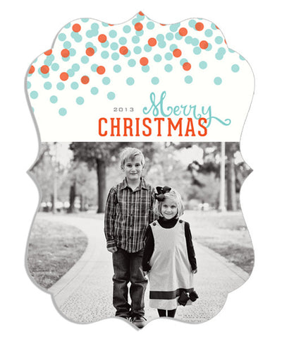 Confetti Christmas 5x7 Ornate Luxe Card & Address Label