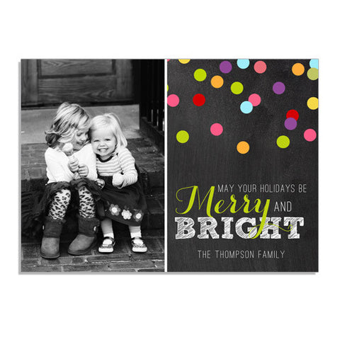 Merry And Bright 7x5 Flat Card & Address Label