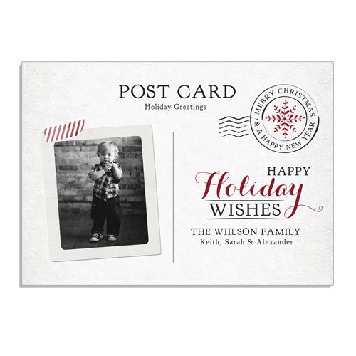 Postcard Greetings 7x5 Flat Card & Address Label