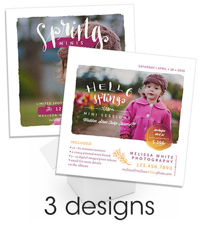 Minis Marketing 5x5 Flat Card Promos for Print, Instagram or Facebook