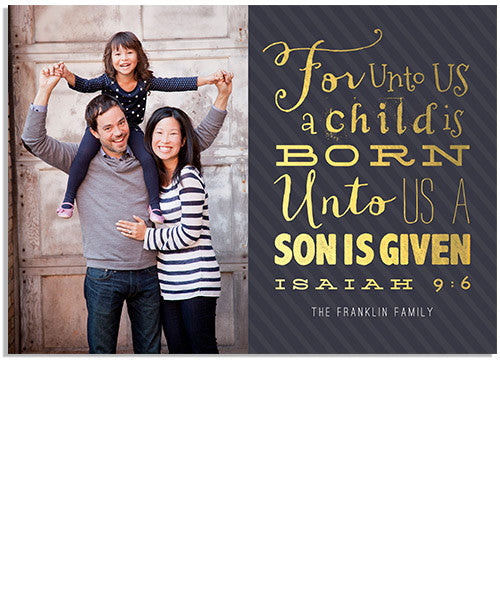 For Unto Us 7x5 Flat Card