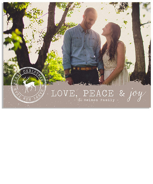 Love, Peace and Joy Stamp 7x5 Flat Card