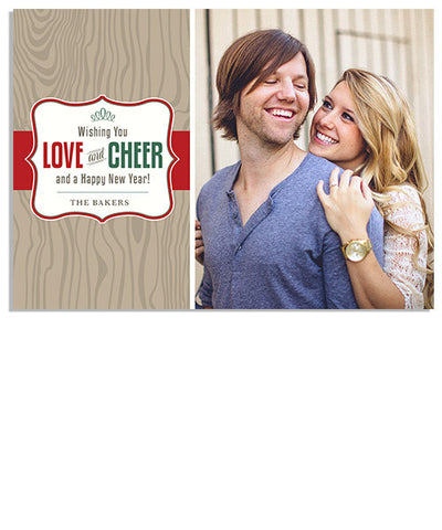 Love and Cheer 7x5 Flat Card, Address Label and Envelope Liner
