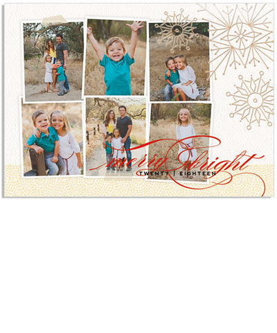 Merry 7x5 Artful Snowflakes Foil Press Card