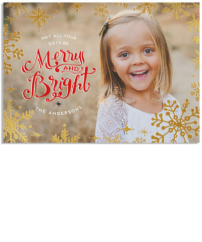 Merry and Bright 7x5 Snowflake Border Foil Press Card