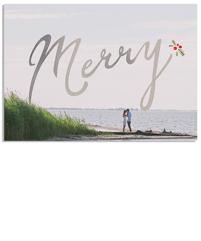 Classic Holly 7x5 Merry Foil Press Card