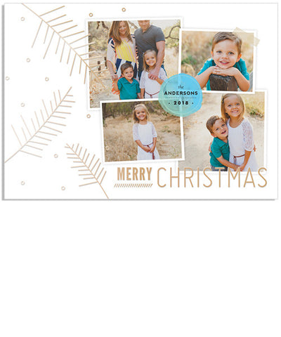 Modern 7x5 Christmas Branches Foil Press Card