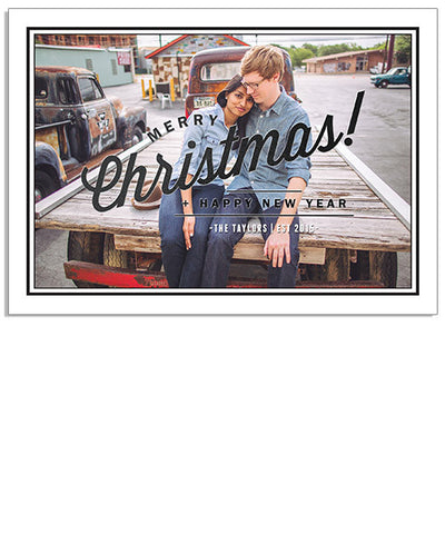 Modern Black 7x5 Classic Christmas Foil Press Card