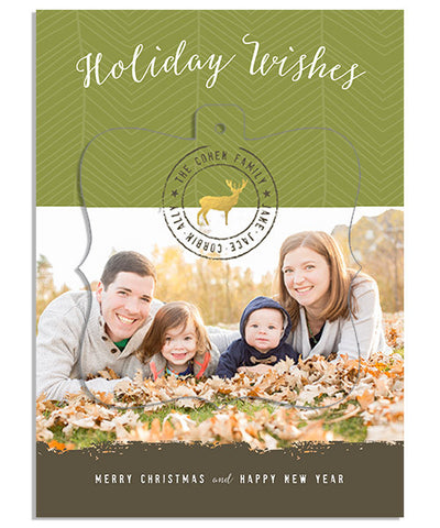 Natural Holiday 5x7 Ornate Luxe Pop Card