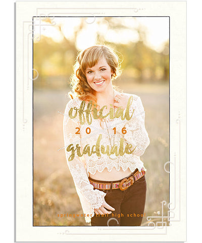 Official Grad 5x7 Deco Foil Press Card