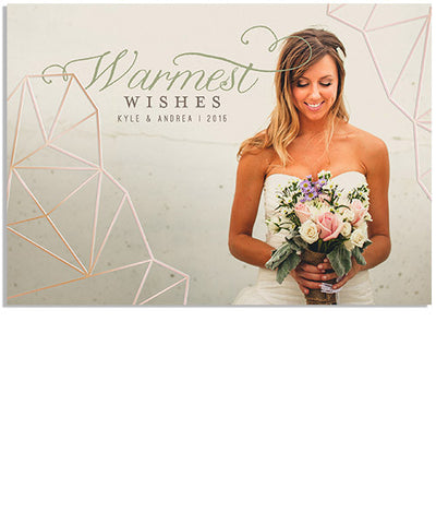 Romantic Wishes 5x7 Geometric Horizontal Foil Press Card