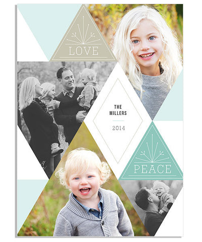Triangle Christmas 5x7 Flat Card and Address Label