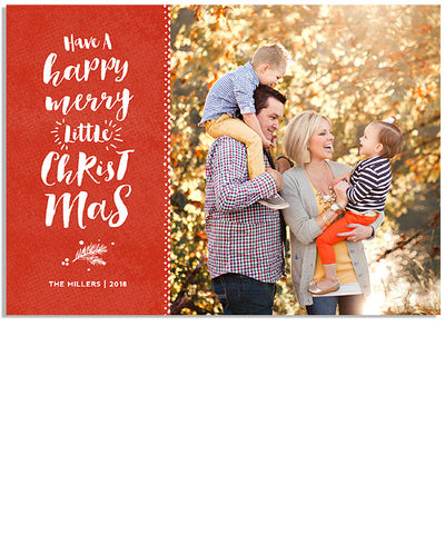 Happy Merry Christmas 7x5 Flat Card and Address Label