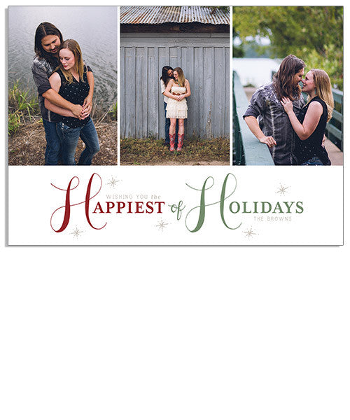 Holiday Happiness 7x5 Flat Card and Address Label