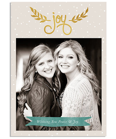 Peace & Joy 5x7 Joy Foil Press Card