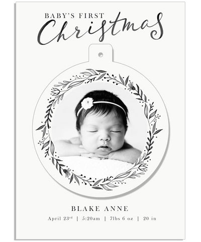 Baby's First Ornament 5x7 Circle Luxe Pop Card