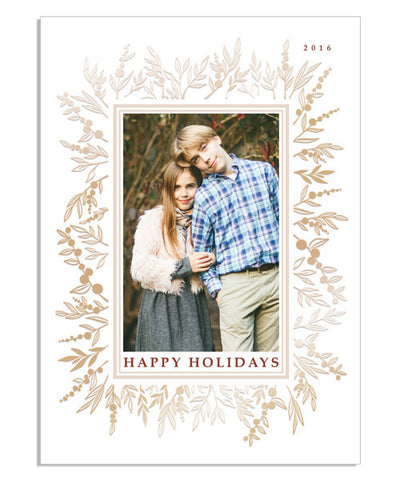 Beautiful Holiday 5x7 Prairie Flower Border Foil Press Card