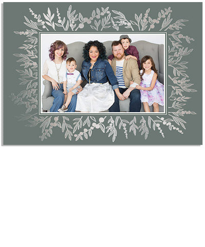 Berry Christmas 7x5 Prairie Flower Border Foil Press Card
