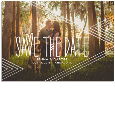 Bohemian Save the Date 7x5 Echo Horizontal Foil Press Card
