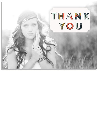 Bohemian Thank You 7x5 Flat Card