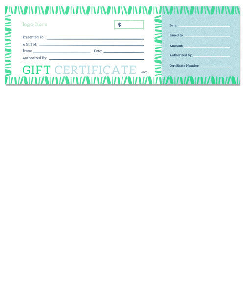 Boho Stripe Gift Certificate 12x4 Perforated Flat Card