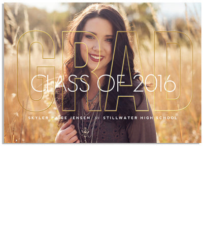 Bold Grad 7x5 Grad Outline Foil Press Card