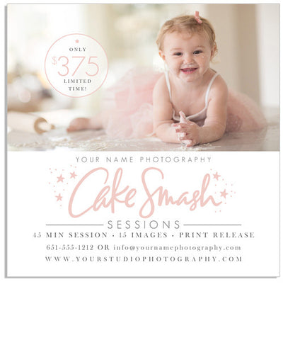 Cake Smash 5x5 Flat Card or Digital Ad