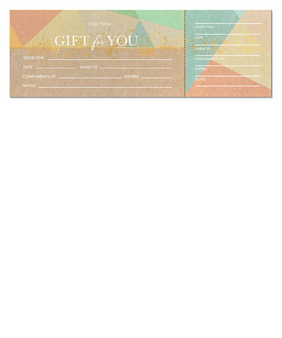 Cardboard Geo Gift Certificate 12x4 Perforated Flat Card