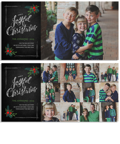 Chalkboard Joyful Christmas 8x4 Flat Card, Address Label and Circle Sticker