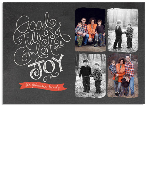 Chalkboard Tidings 7x5 Flat Card and Address Label