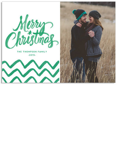 Chevron Merry Christmas 7x5 Flat Card and Address Label