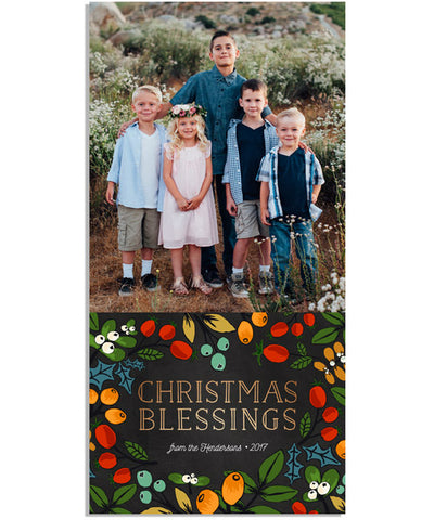 Christmas Blessings 4x8 Flat Card, Address Label and Circle Sticker