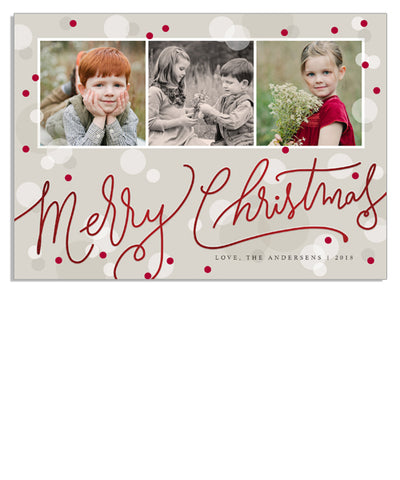 Christmas Dots 7x5 Christmas Scrawl Foil Press Card
