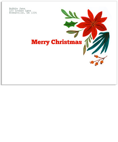 Christmas Florals 7x5 Printed Envelope