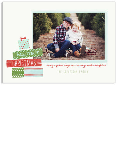 Christmas Gifts 7x5 Flat Card and Address Label