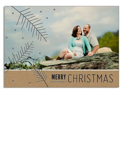 Christmas Kraft 7x5 Christmas Branches Foil Press Card