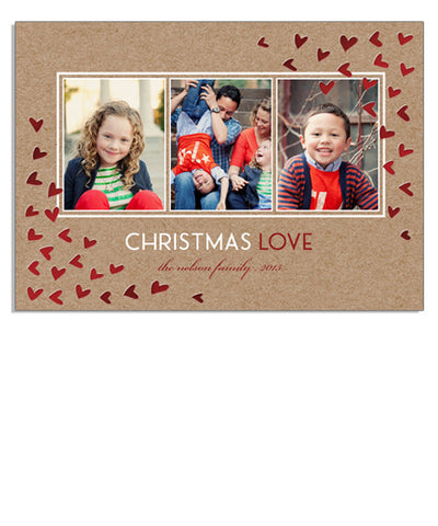 Christmas Love 5x7 Hearts Foil Press Card