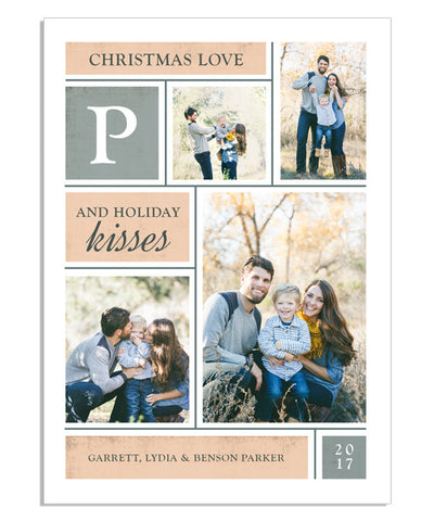 Christmas Love and Kisses 5x7 Flat Card