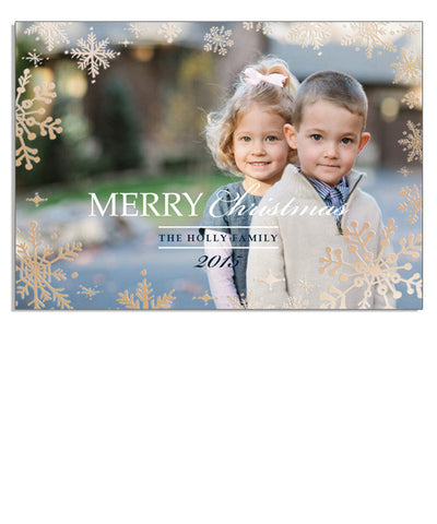 Classic Winter 7x5 Snowflake Border Foil Press Card